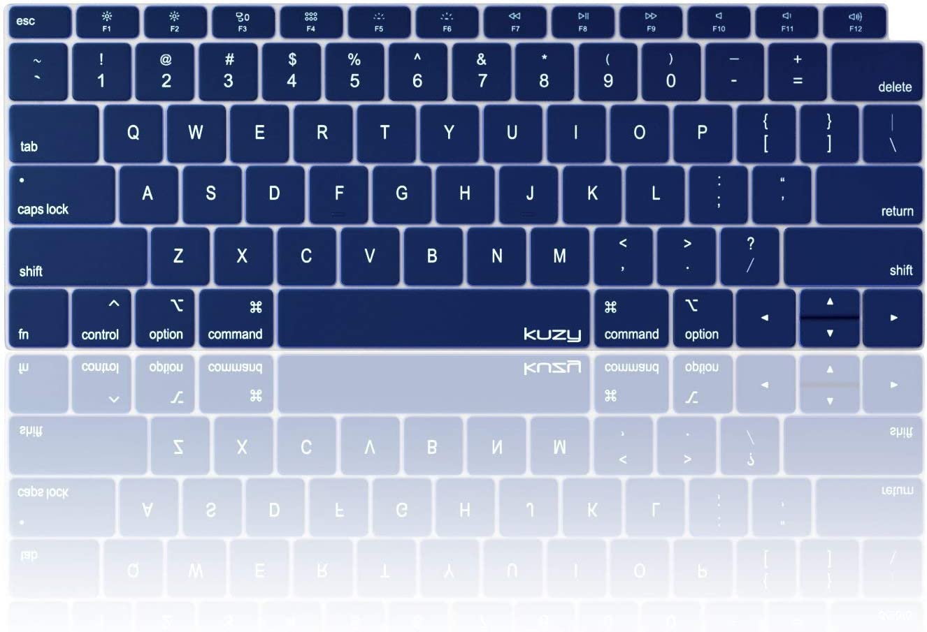Kuzy MacBook Air Keyboard Cover, 13 inch 2019 2018 A1932 with Retina Display and Touch ID Silicone Key Board Protective Skin Protector, Apple MacBook Air 2019 Keyboard Cover, Navy