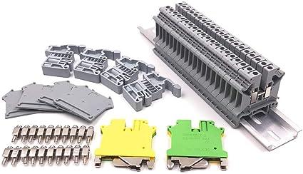 Blocs de Mise /à la Terre Kits de Cavaliers de Pont Supports DExtr/éMit/é E//Uk Rails en Aluminium Bornier Uk5N Sandis Kit de Borniers de Rail DIN Capuchons DExtr/éMit/é D-Uk