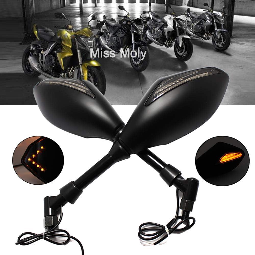 Moto R/étroviseurs Lat/éraux avec LED Clignotants pour CBR GSF KLX V-Max FZ6 XJ6 Noir Brillant + Lentille de Fum/ée