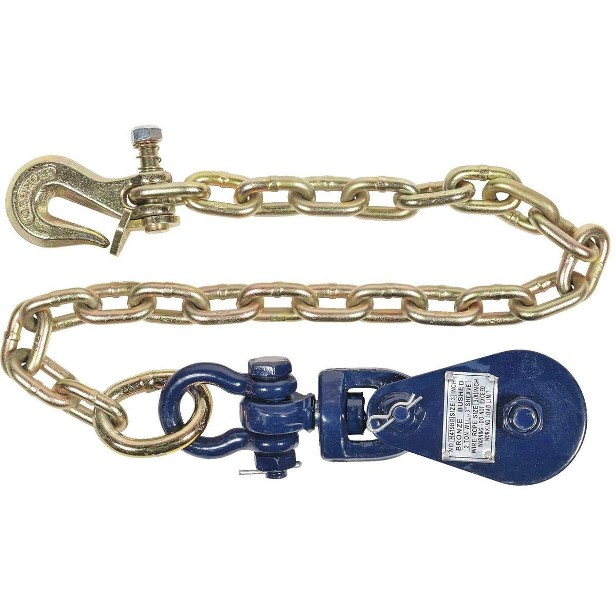 BA Products Nice 6I-2TSW30TL 2 Ton Snatch Block with Chain and Twist Lock/Lockable Grab Hook for Rollbacks, Wreckers, Tow Trucks, Farm and More! by BA Products