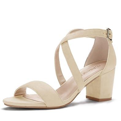 Allegra K Women s Straps Mid Heel Ankle Strap Beige Sandals - 5 ...