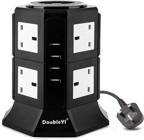 8 Socket Surge Protected Power Tower Secteur Extension Lead électrique USB 2x 5 M W