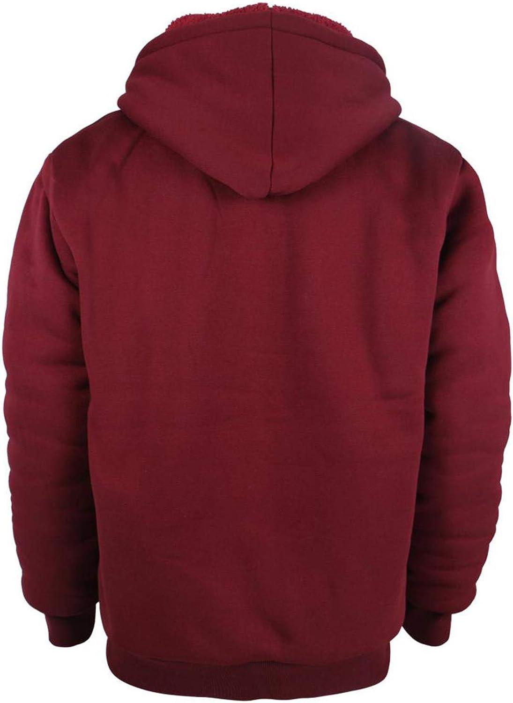 TanBridge Heavyweight Sherpa Lined Plus Sizes Warm Fleece Full Zip Mens Hoodie with Padded Sleeve /& Rib Cuffs