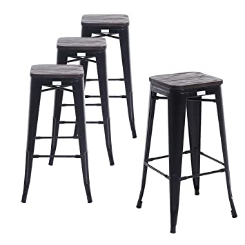 Pleasing Buschman Set Of 4 Matte Black Wooden Seat 30 Inch Bar Height Metal Bar Stools Indoor Outdoor Stackable Creativecarmelina Interior Chair Design Creativecarmelinacom