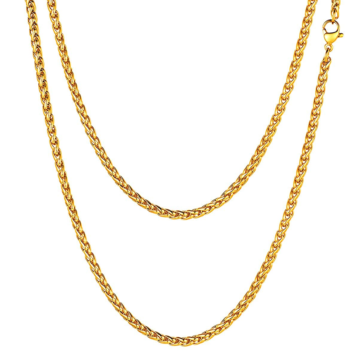 a06292fc53048 FOCALOOK 3MM Wheat Chain Necklace for Men Jewelry, 316L Stainless Steel/18K  Gold Plated/Black Chain Necklace,18''/20''/22''/24''/26''/28''/30