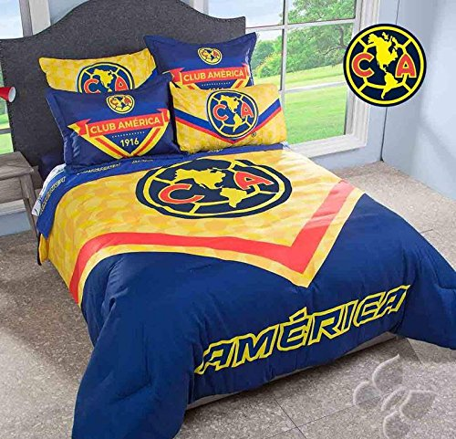 JORGE'S HOME FASHION INC LIMITED EDITION MEXICAN SOCCER CLUB AMERICA LICENSE TEENS BOYS COMFORTER SET 3 PCS QUEEN SIZE by JORGE'S HOME FASHION INC