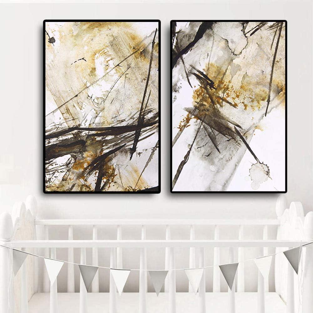 DMPro Abstracto Amarillo Blanco y Negro Pintura al óleo sobre Lienzo Arte Carteles e Impresiones Estilo nórdico Cuadro de Pared para decoración de Sala de Estar 50x70cm sin Marco x2