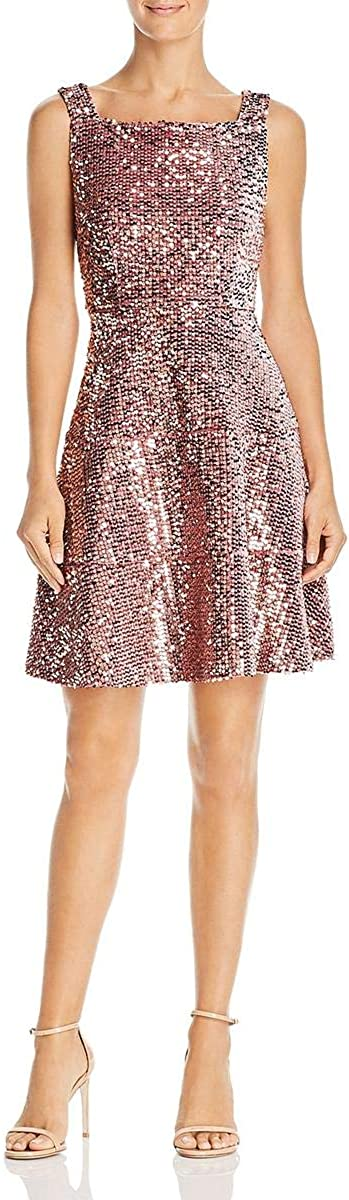 Laundry by Shelli Segal Women's Velvet Sequined Fit and Flare Mini Dress