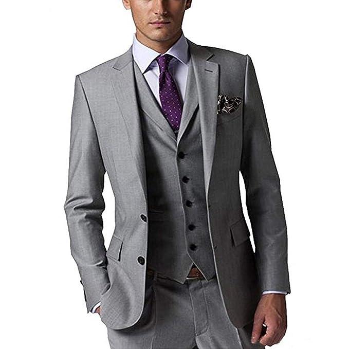 Amazon.com: Groom Tuxedos gris claro Groomsmen ventilación ...