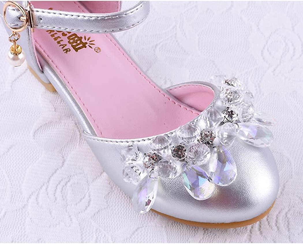 Raylans Kids Girls Mary Jane Crystal Glitter Low Heels Princess Dress Shoes Party Dance Shoes