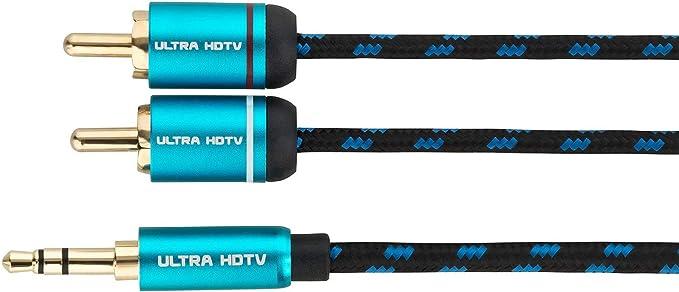 Cable Jack 3.5mm Macho a 2 RCA Macho de Ultra HDTV | Jack a 2 Cinch/Phono | Nylon Trenzado | Adaptador Metálico y Conectores Dorados | para Smartphone, Altavoces, PC, Receptores de Audio | 12,5 m