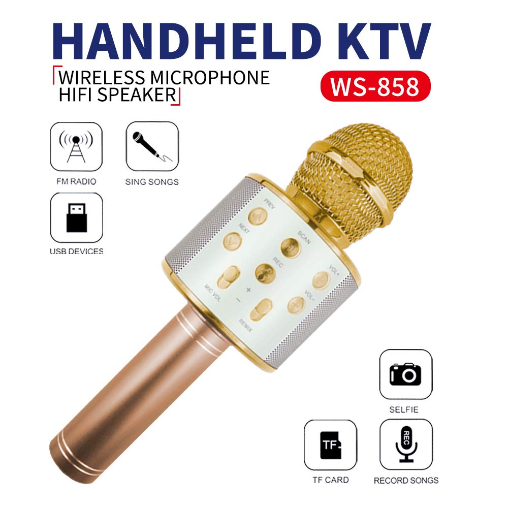 Wireless Bluetooth Microphone for Kids, Gifts for Girl Kids Age 4-11 Year Old Girls Boys Karaoke Microphone for iPhone Android Family Birthday Party Gift Toy Age 4-12 Girl Gold Mic