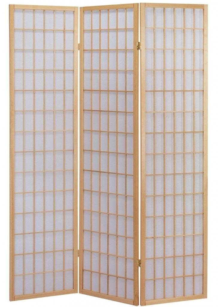Legacy Decor 3 Panel Japanese Oriental Style Room Screen Divider Natural Color