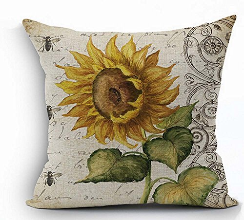 Oil Painting Sunflower Throw Pillow Case Cushion Cover