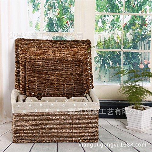 Wicker Straw woven storage Basket With Lid Hamper Shelf Basket (set of 3pcs£