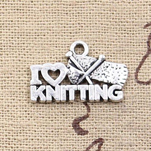 30pcs Charms I Love Knitting 20x12mm Antique Making Vintage Tibetan Silver Zinc Alloy Pendant