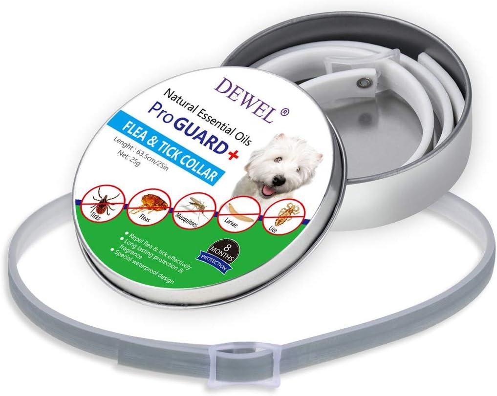 Collari Antiparassitari 8 Mesi di Efficacia Protezione Pettorale Grigio A Cane JIANGfu Collari dellanimale Domestico