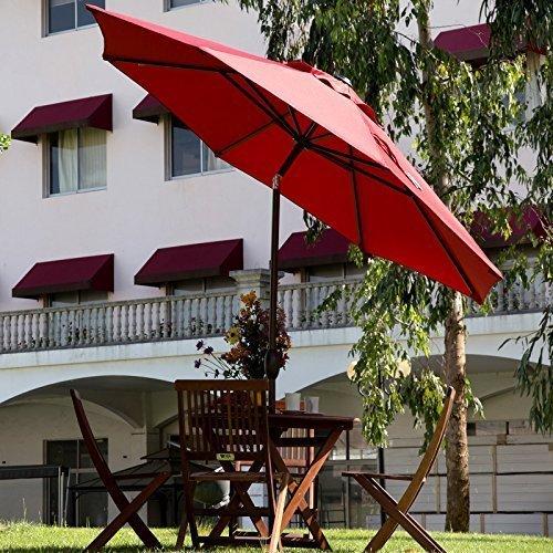 Patio Umbrella Material Replacement: 9-Ft Sunbrella Fabric Patio Umbrella Outdoor Table