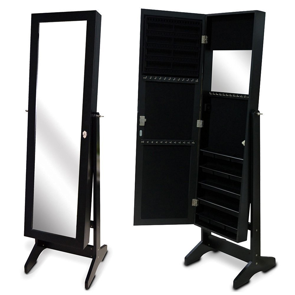 Organizedlife Black Free Standing Wall/Door-Mount Mirror Jewelry Armoire Cabinet For Dressing Room by Organizedlife (Image #3)