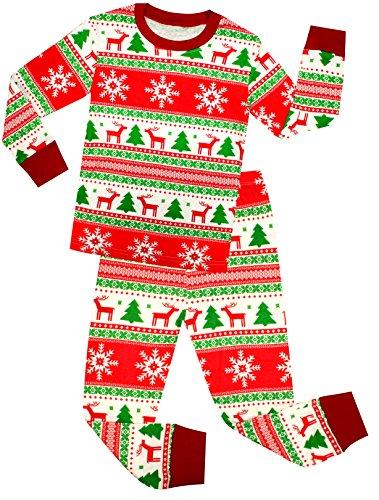 shelry Girls and Boys Santa Christmas Pajamas Children Cotton Clothes Kids PJS Size 7 Years (Christmas Pajamas For Children)