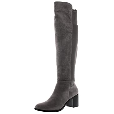 75cf342f18f Womens Stretch Knee High Riding Block Heel Cleated Sole Winter High Boot