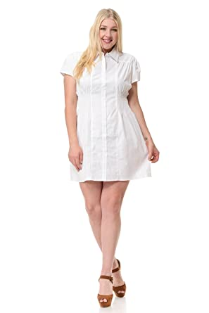 Clinamen Clothing Womens Plus Size Smocking Waist Collared Woven ...