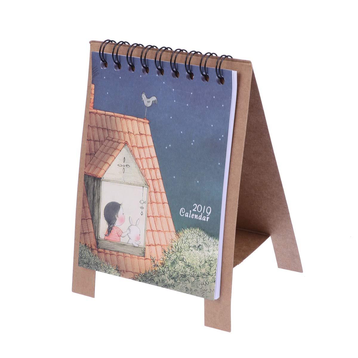 YeahiBaby Calendario da Tavolo 2019Fresh Cartoon Kawaii Series Mini scrivania Paper calendari
