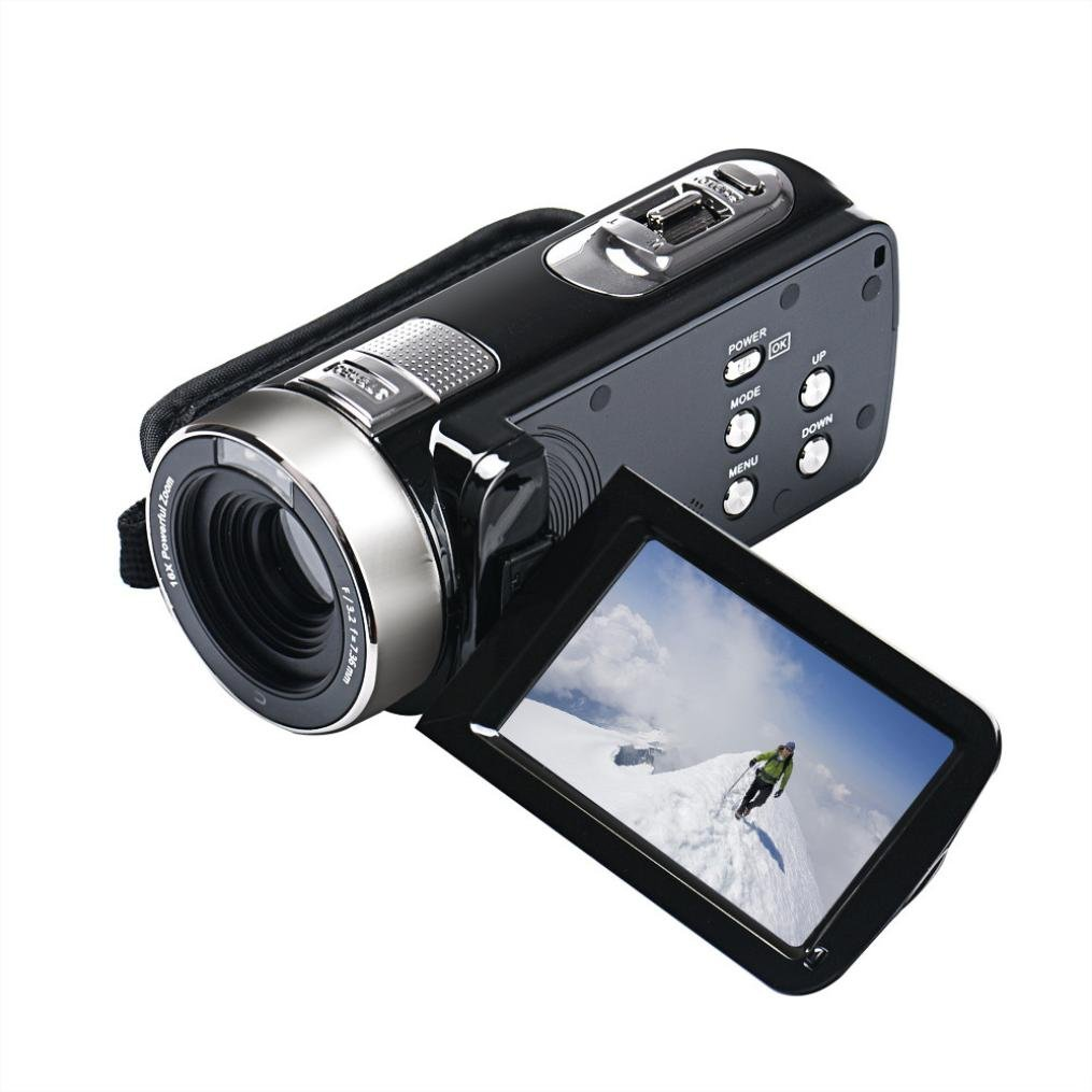 Hometom 16X ZOOM Full HD 1080P 24MP Digital Video Camcorder Camera DV HDMI 3'' TFT LCD (Black) by Hometom