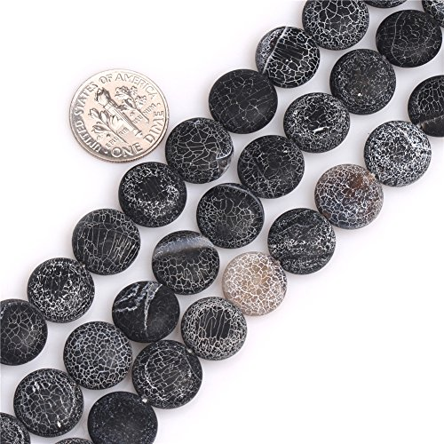 GEM-Inside Black Agate Gemstone Loose Beads Natural 12mm Matte Frosted Coin Crystal Energy Stone Healing Power Beads for Jewelry Making 15