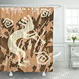 Emvency Shower Curtain Brown Aztec of Kokopelli Trickster Tan Southwest Aboriginal Waterproof Polyester Fabric 72 x 72 Inches Set with Hooks