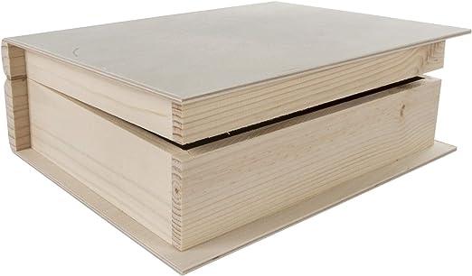 WooDeeDoo Neto Cajas con Forma de Libro, Madera, 24.5 x 19 x 8 cm ...