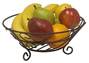 Home Basics Scroll Collection Bronze Coated Steel Fruit Basket, Storage for Fruits and Vegetables, Kitchen Table, Countertop, Bronze