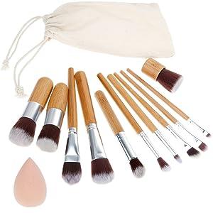 Rovtop 13 en 1, 11 Unidades Brochas y Pinceles de Maquillaje con Mango de Bambú /Juego de Cepillo de Maquillaje Profesional y Esponja para Maquillar, Incluido el Estuche