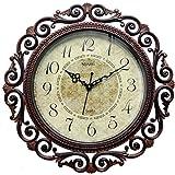 Steven Quartz Round Wall Clock Antique Brown- Size 16 Inch X 16 Inch