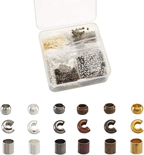 1 Box 2mm Crimp Beads Jewelry Making Spacer Mixed Tube Cord Clamp DIY Tools