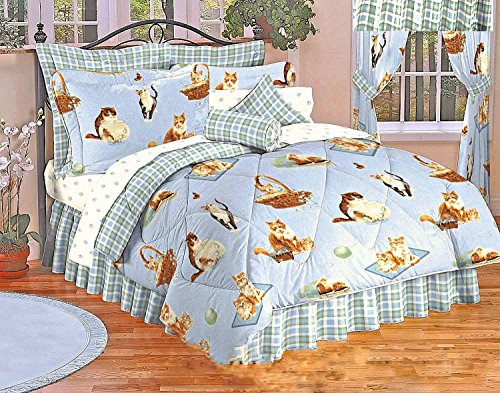 8pc's Reversible Plaid Feline Kitty CATS MEOW Girls Blue QUEEN SIZE Comforter, Shams, Bedskirt and Sheet Set (Pillows, Euro Shams and Window Treatments Shown are NOT INCLUDED; for DISPLAY ONLY!) ()