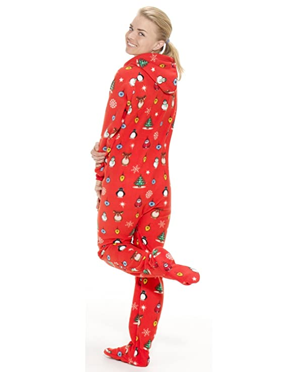 Amazon.com: Footed Pajamas - Holly Jolly Christmas Adult Hoodie ...