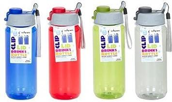 Wham Tritan sin BPA plástico deporte bebidas botella de agua 750 ml Clip tapa | varios