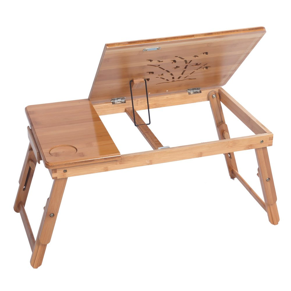 Multifunctional Lapdesk,Bamboo Bedside TV Snack Tray Adjustable Computer Desk with Cup Stand Foldable Breakfast Serving Table Notebook Stand Tilting Top for Reading Writing Eating Wood Color
