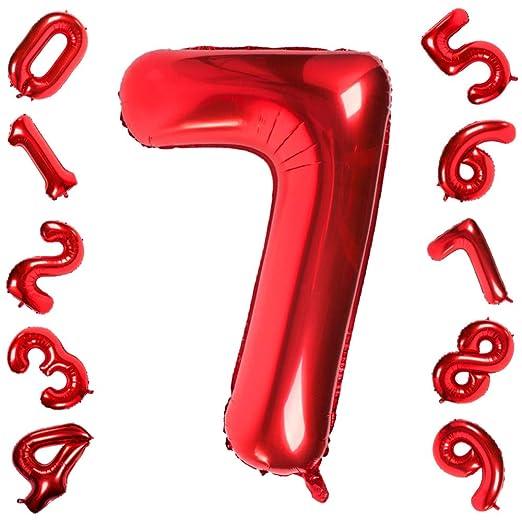 42 Pulgadas Grandes Globos Rojos Números 7, Jumbo Foil Helio Globos Digitales para Cumpleaños Fiesta de Aniversario de Boda Festival Decoraciones