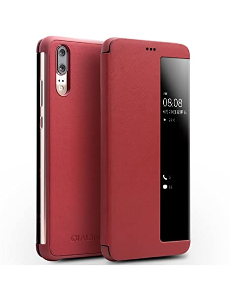 new product 70a96 a381d Huawei P20 Case, QIALINO Slim Flip Genuine Leather Smart Cover P20 Phone  Bumper (with Smart Window and Auto Screen Sleep/Wake) for Huawei P20, Red