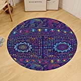 Gzhihine Custom round floor mat Psychedelic Traditional Ethnic Ramayan Epic Legend Divine Culture Sacred Holy Avatar Design Bedroom Living Room Dorm Multi