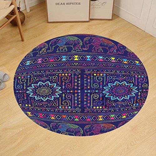Gzhihine Custom round floor mat Psychedelic Traditional Ethnic Ramayan Epic Legend Divine Culture Sacred Holy Avatar Design Bedroom Living Room Dorm Multi by Gzhihine