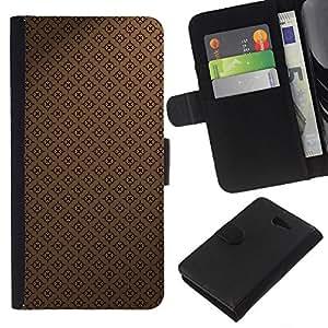 KingStore / Leather Etui en cuir / Sony Xperia M2 / Modelo del papel pintado de Brown Coffee Classic
