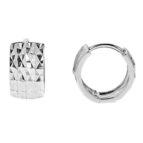 1fddd44934122b 14k White Gold Wide Diamond-cut Shiny Huggy Huggies Hoop Earrings 11.5x6mm:  Amazon.ca: Jewelry