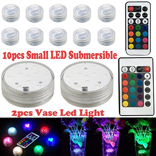 12pcs Waterproof Submersible Led Light Underwater Lights Tea Light with Remote Control Multi Color for Decoration Wedding Vase Base Party Halloween Christmas
