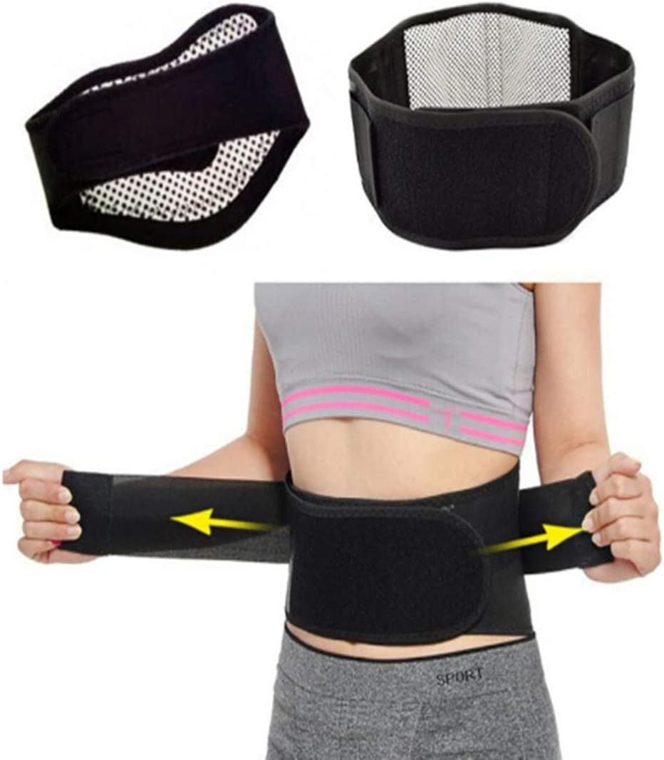 Black SUPVOX Self-heating Waist Brace Magnetic Warm Belt Adjustable Abdominal Support Heating Brace Lumbar Heated Support Pad for Women and Men Size S