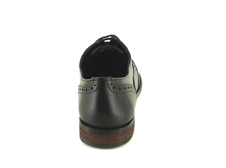 Zapatos mujer negros piel cordones cuero calado, tacón bajo bloque - Color negro - Tallas RU 3-9 - Negro - negro, 42, Negro