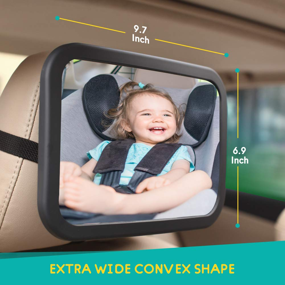 Pink MYSBIKER Baby Backseat Mirror,360/°Rotation and Shatterproof,Rear View Baby Kids Car Mirror with Dual Adjustable Straps,Clear View Ensure Your Baby is Safe in Car