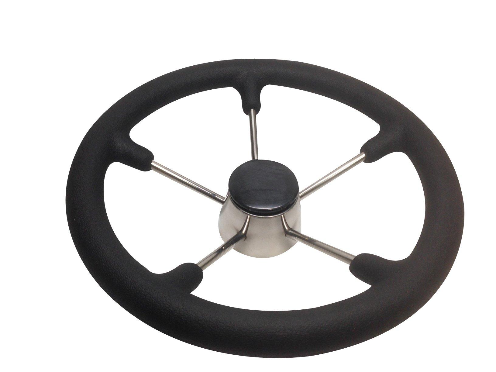 NEW Boat Steering Wheel Rib Speedboat Cruiser GREY PU Soft Grip Spoked Stainless